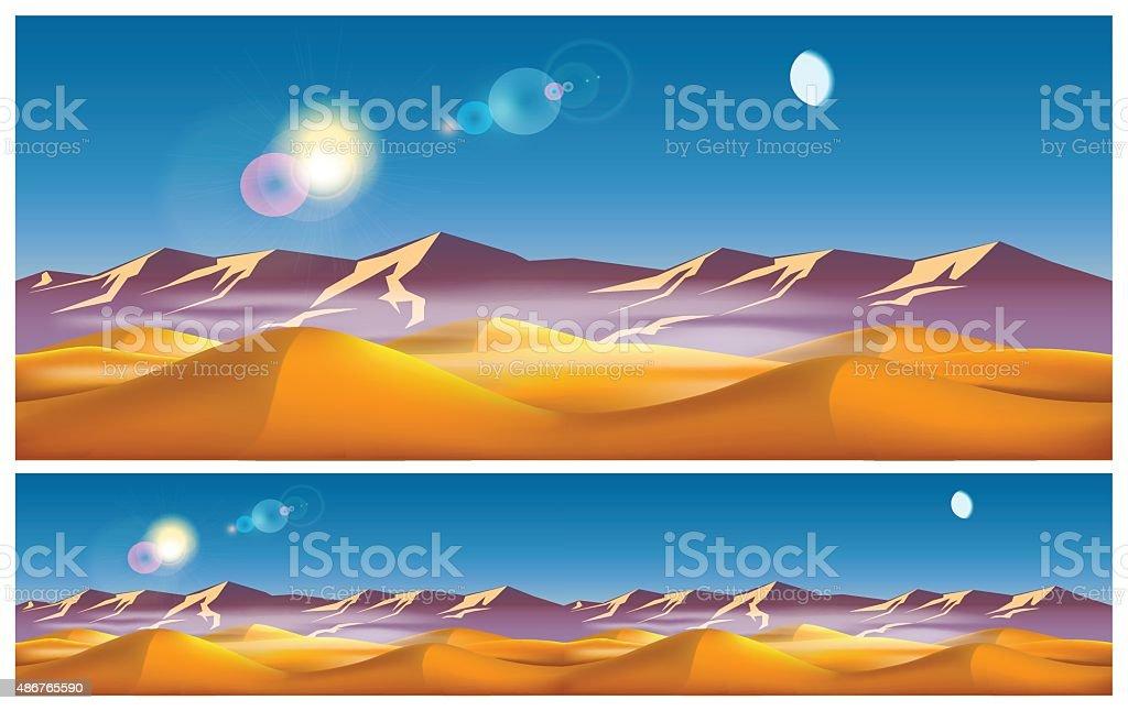 Hot desert in the daytime vector art illustration