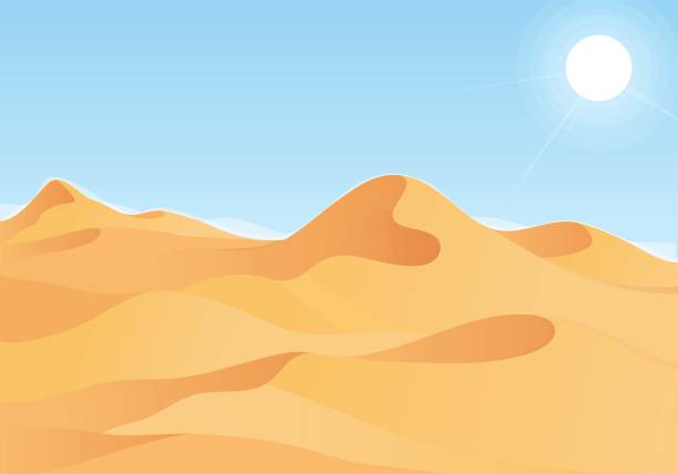 hot desert landscape with blue sky - 砂漠点のイラスト素材/クリップアート素材/マンガ素材/アイコン素材