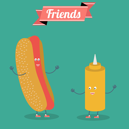 Hot dog and mustard.Vector cartoon. Fast food. Friends forever.