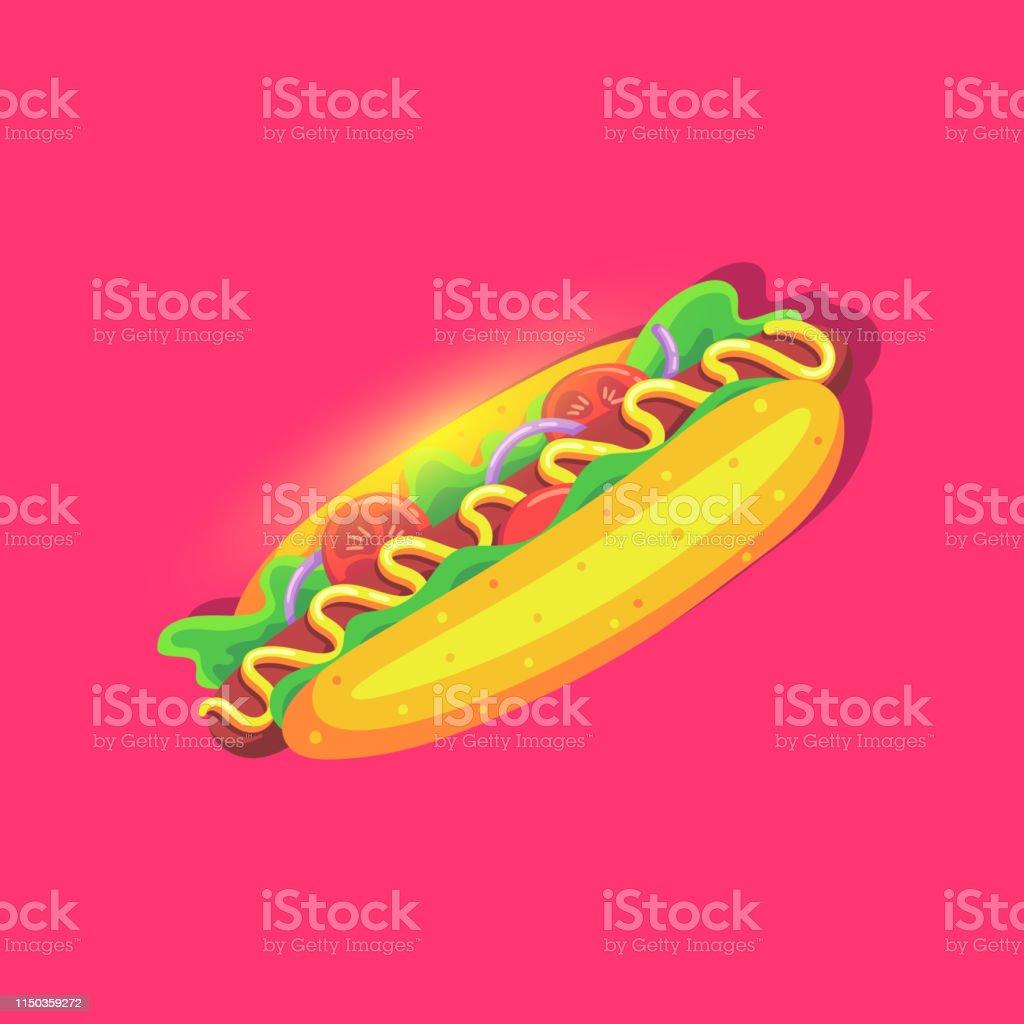 Hot Dog helder icoon in cartoon stijl. Fast Food voeding. - Royalty-free Amerikaanse cultuur vectorkunst