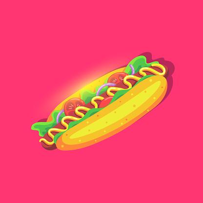 Hot Dog Helder Icoon In Cartoon Stijl Fast Food Voeding Stockvectorkunst en meer beelden van Amerikaanse cultuur