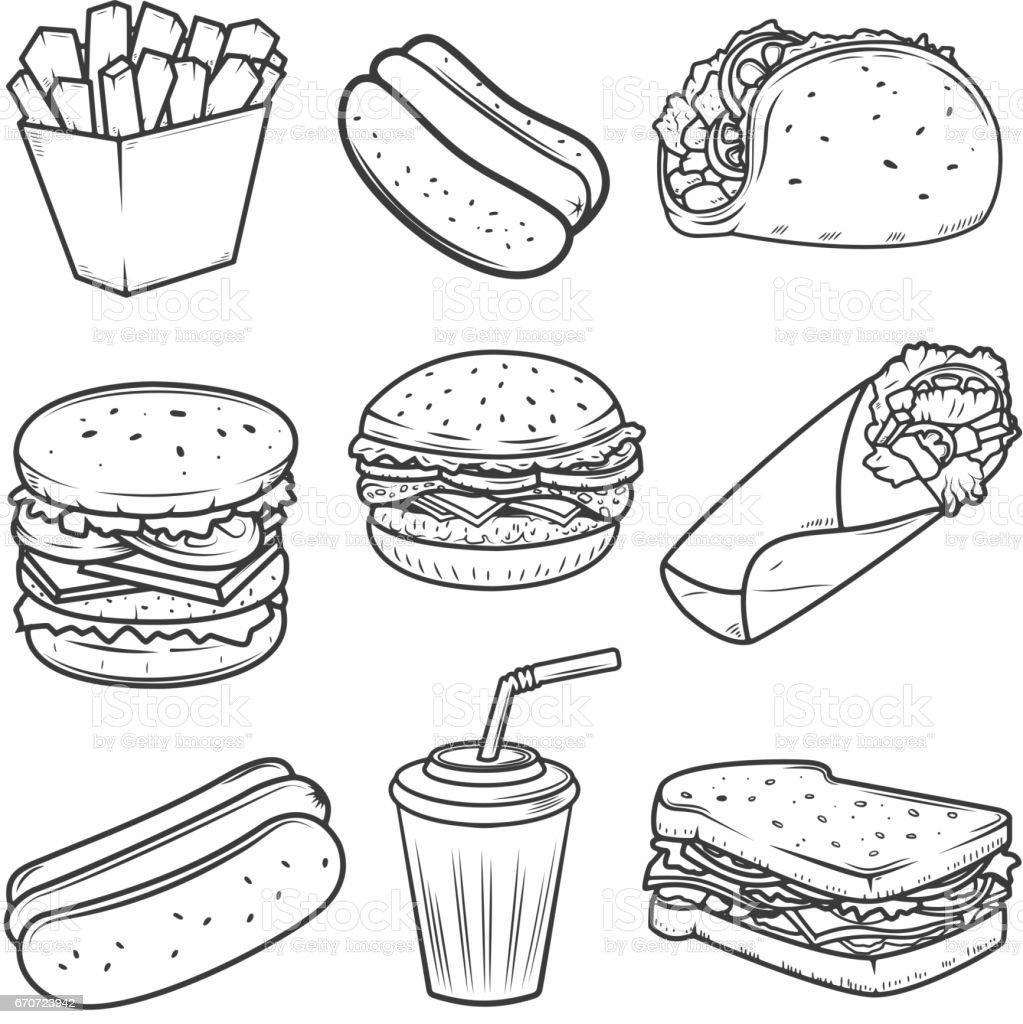 Hot dog, burger, taco, sandwich, burrito .Set of fast food icons isolated on white background. Design elements for icon , label, emblem, sign, brand mark. vector art illustration