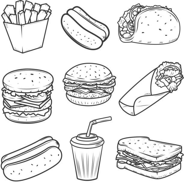 hot-dog, burger, taco, sandwich, burrito. reihe von fast-food-icons isoliert auf weißem hintergrund. design-elemente für label, wahrzeichen, zeichen, symbol, markenzeichen. - sandwiches stock-grafiken, -clipart, -cartoons und -symbole
