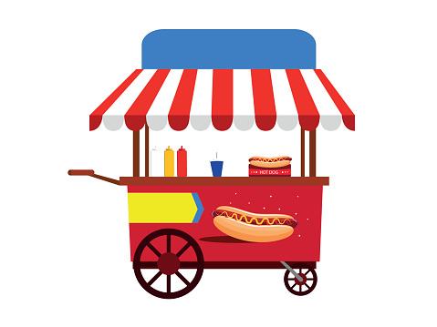Hot Dog Cart Illustration