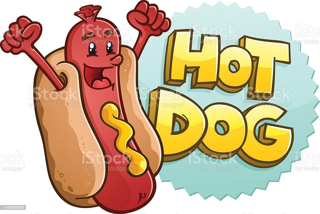 Hot Dog Cartoon Character Celebrating royalty-free stock vector art