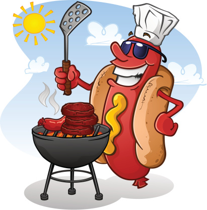Hot Dog Cartoon Wearing Sunglasses and Grilling