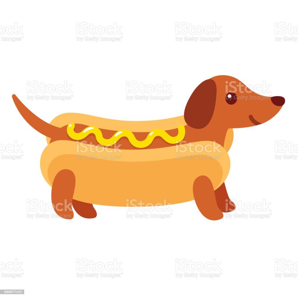 Hot dog dachshund puppy vector art illustration