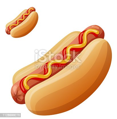 Hot dog. Detailed vector icon isolated on white background. Series of food and drink and ingredients for cooking.