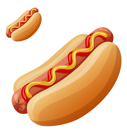 Hot dog. Detailed vector icon isolated on white background