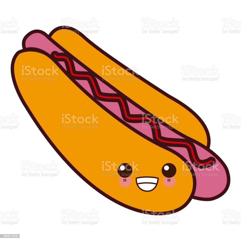 Ilustración De Hot Dog Comida Kawaii Cute Dibujos Animados Y Más