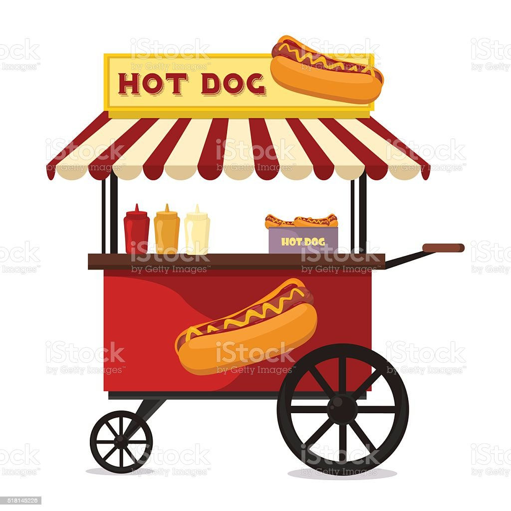 Hot dog fast food shop street cart city flat vector