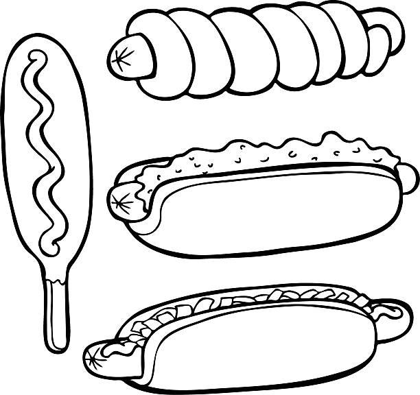 Hot Dog Food Items Line Art Vector Illustration
