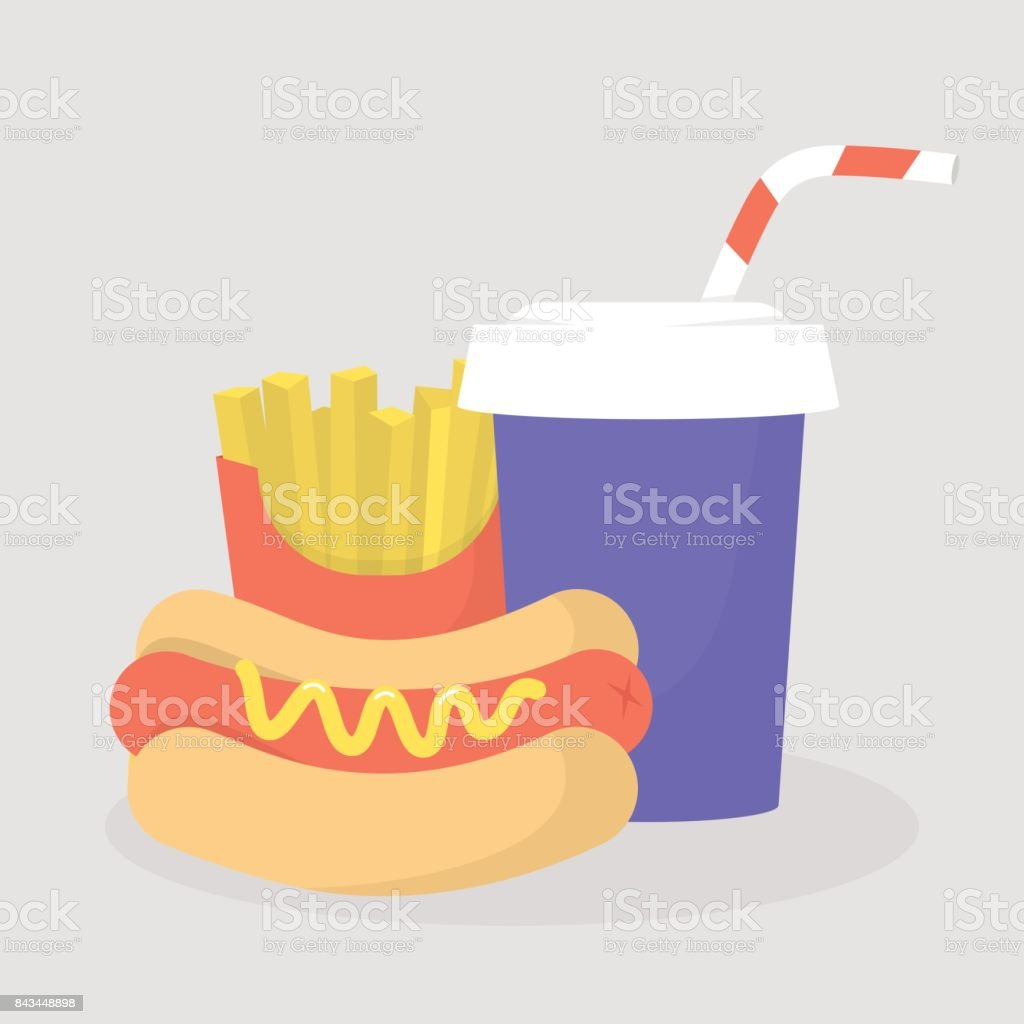Hot dog, frites français et soude définis. Restaurant Fast-Food. Liste déroulante. Illustration de vecteur editable plat, clipart - Illustration vectorielle