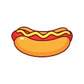 istock Hot dog isolated icon on white background. 1271679742
