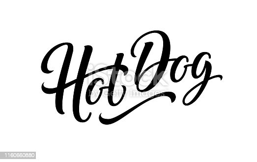 Hot dog isolated on white background. Hotdog sign, logo, label, text and word for food vending cart, urban kiosk, stall or fast food sign. Lettering emblem. Horizontal banner. Vector illustration