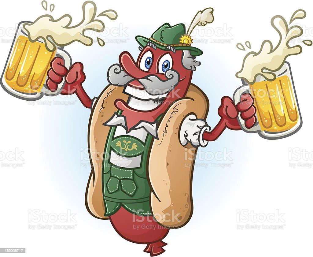 Hot Dog Lederhosen Cartoon Character Drinking Beer vector art illustration