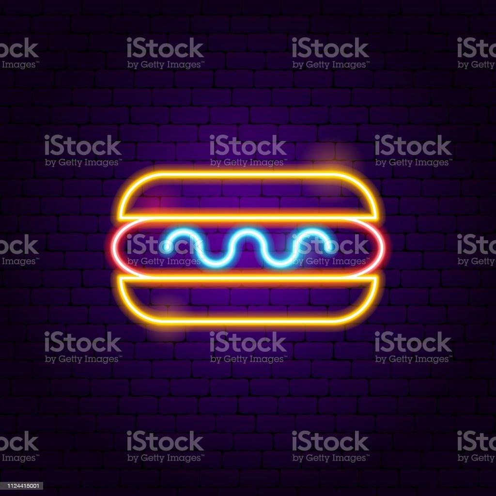 Cachorro-quente de néon - ilustração de arte em vetor