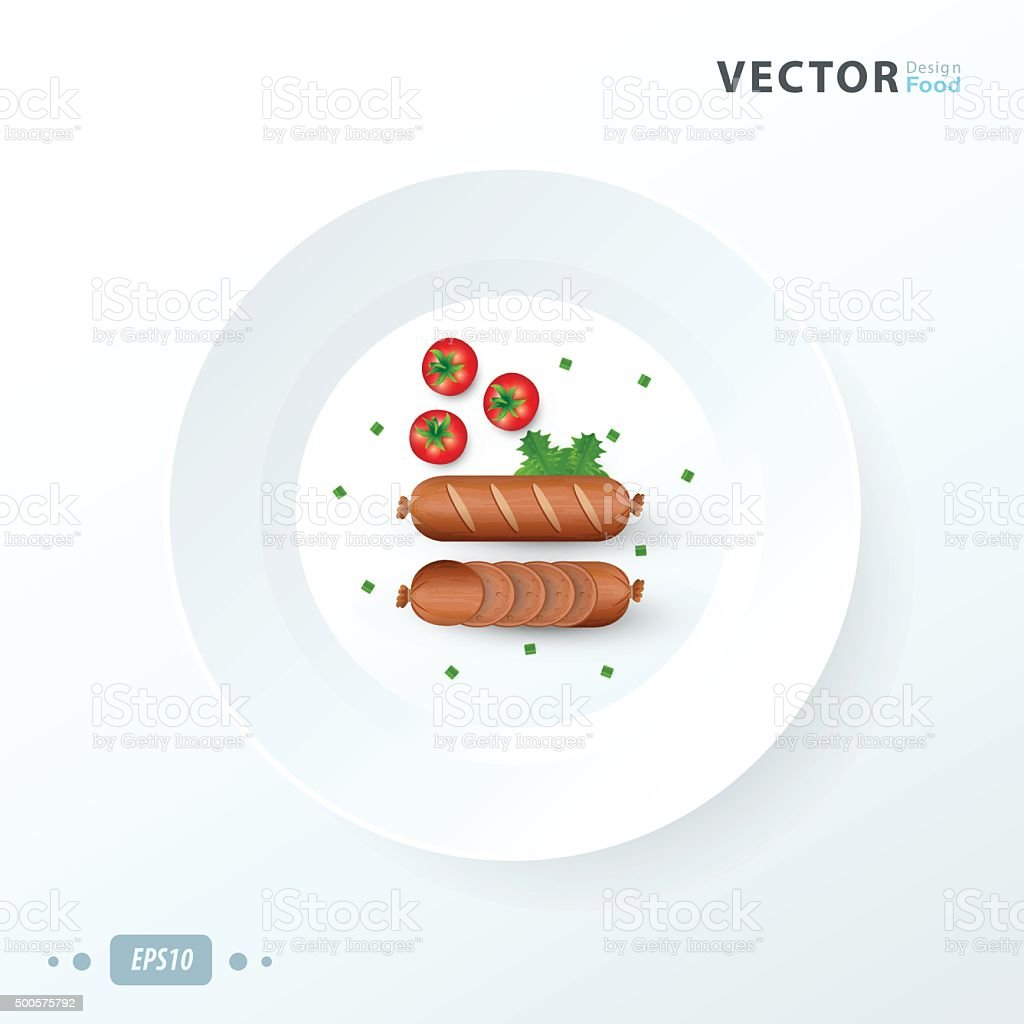 hot dog  on white dish vector art illustration