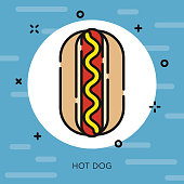 Hot Dog Open Outline USA Icon