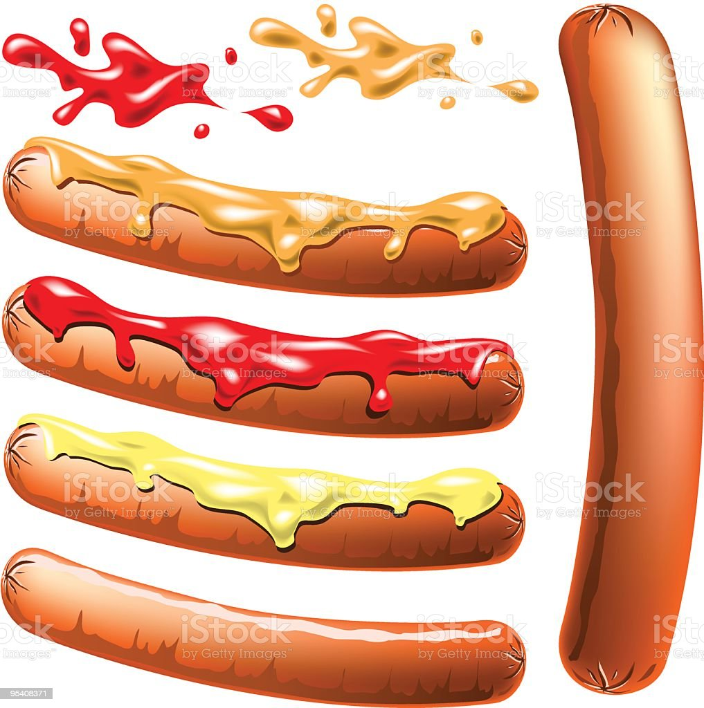 Hot Dog Set vector art illustration