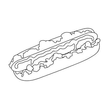 Hot Dog Single Icon In Outline Stylehot Dog Vector Symbol Stock Illustration Web — стоковая векторная графика и другие изображения на тему Без людей