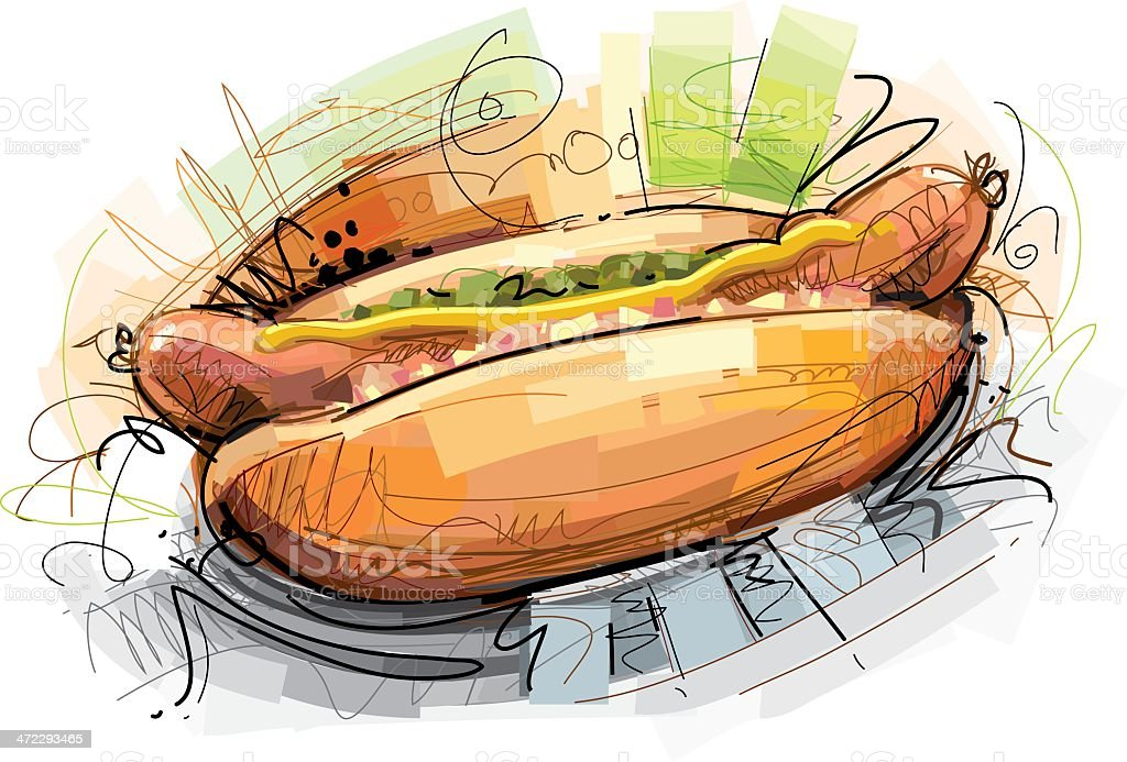 Hot Dog sketch vector art illustration