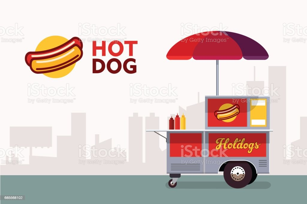 熱狗街車。速食食品站供應商服務。 免版稅 熱狗街車速食食品站供應商服務 向量插圖及更多 交易員 圖片