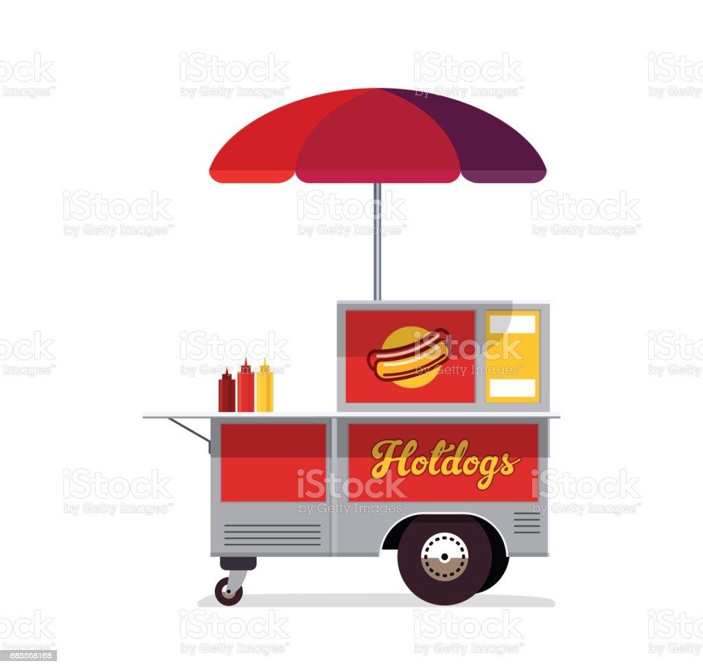 Hot dog street cart. Fast food stand vendor service. vector art illustration