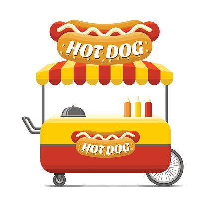 Hot dog street food cart. Colorful vector image