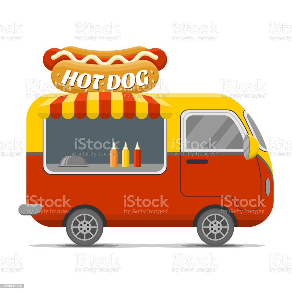 Hot dog street food vector caravan trailer vector art illustration