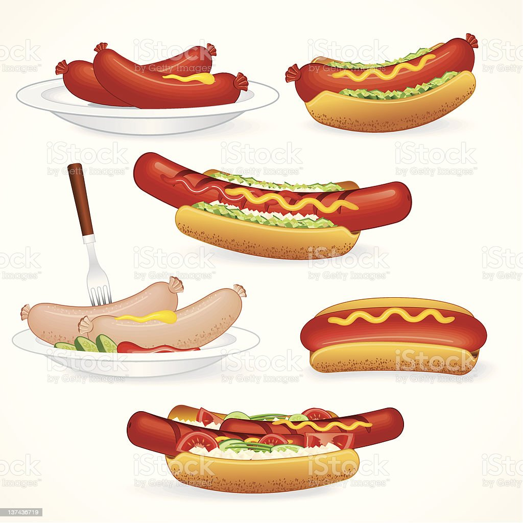 Hot Dog Variation vector art illustration