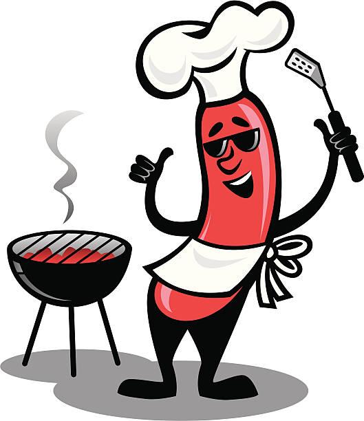 BBQ Hot Dog vector art illustration