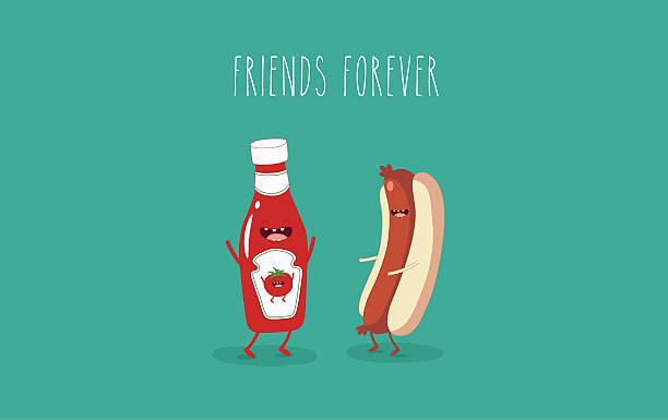 hot dog Funny hot dog and ketchup bottle. Friends forever. Vector illustration. tomato sauce stock illustrations