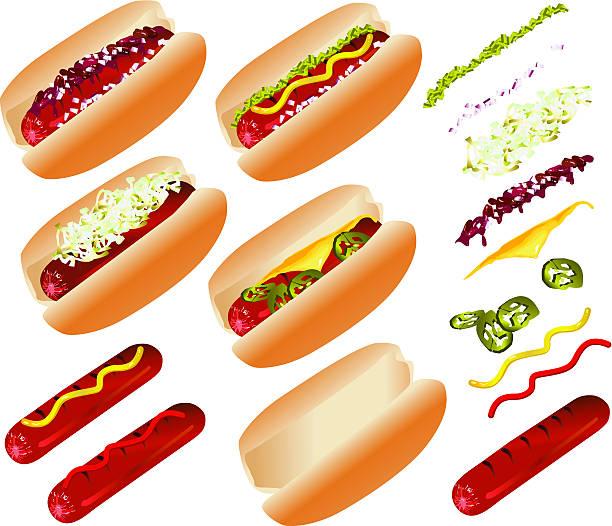 hot dog-schnellimbiss - sauerkraut stock-grafiken, -clipart, -cartoons und -symbole