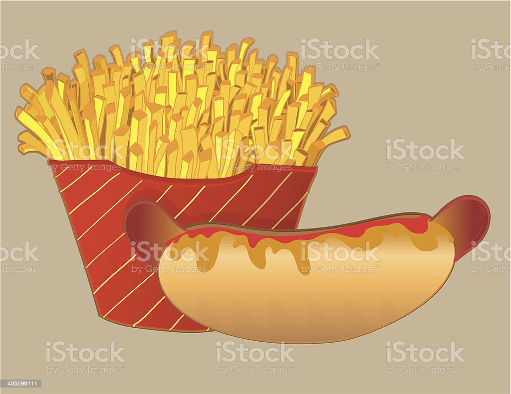 Hot dog with french fries. royalty-free stock vector art