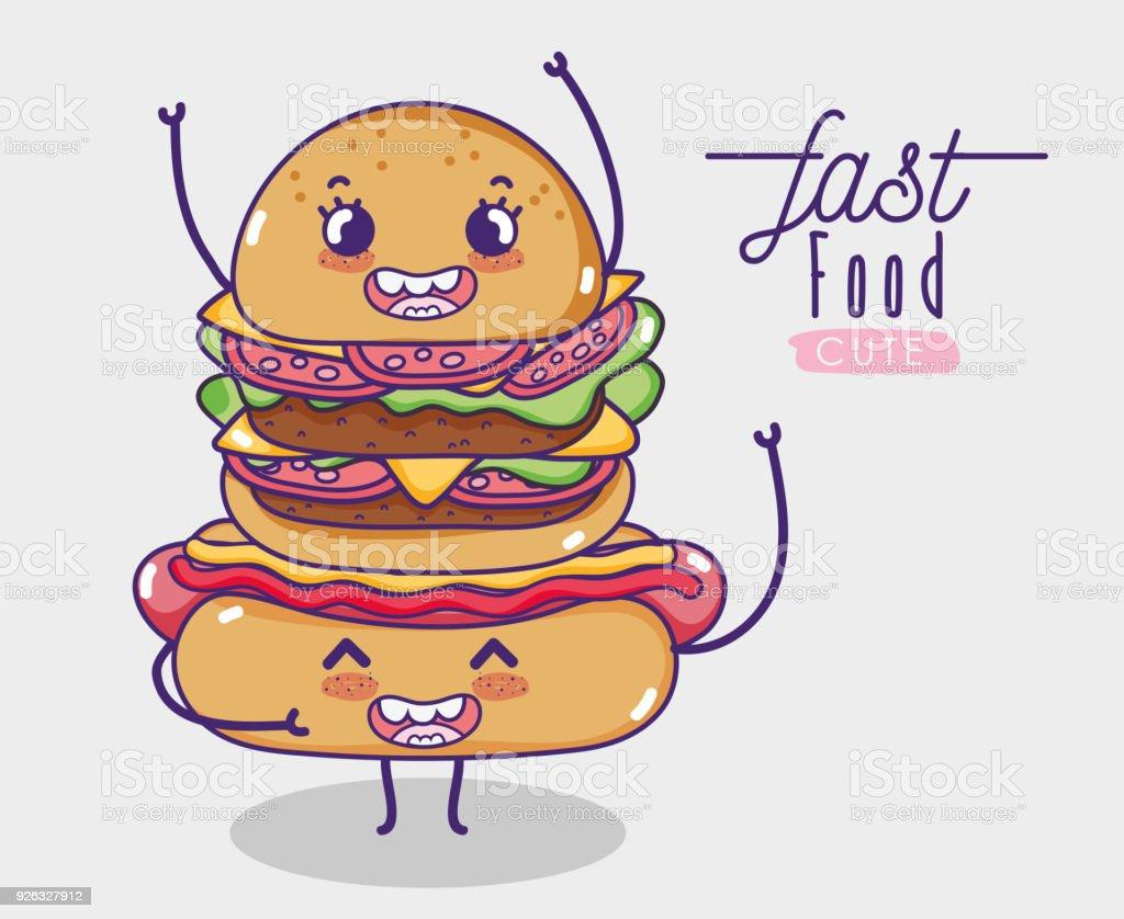 Ilustración De Hot Dog Con Hamburguesa Kawaii De Dibujos Animados Y