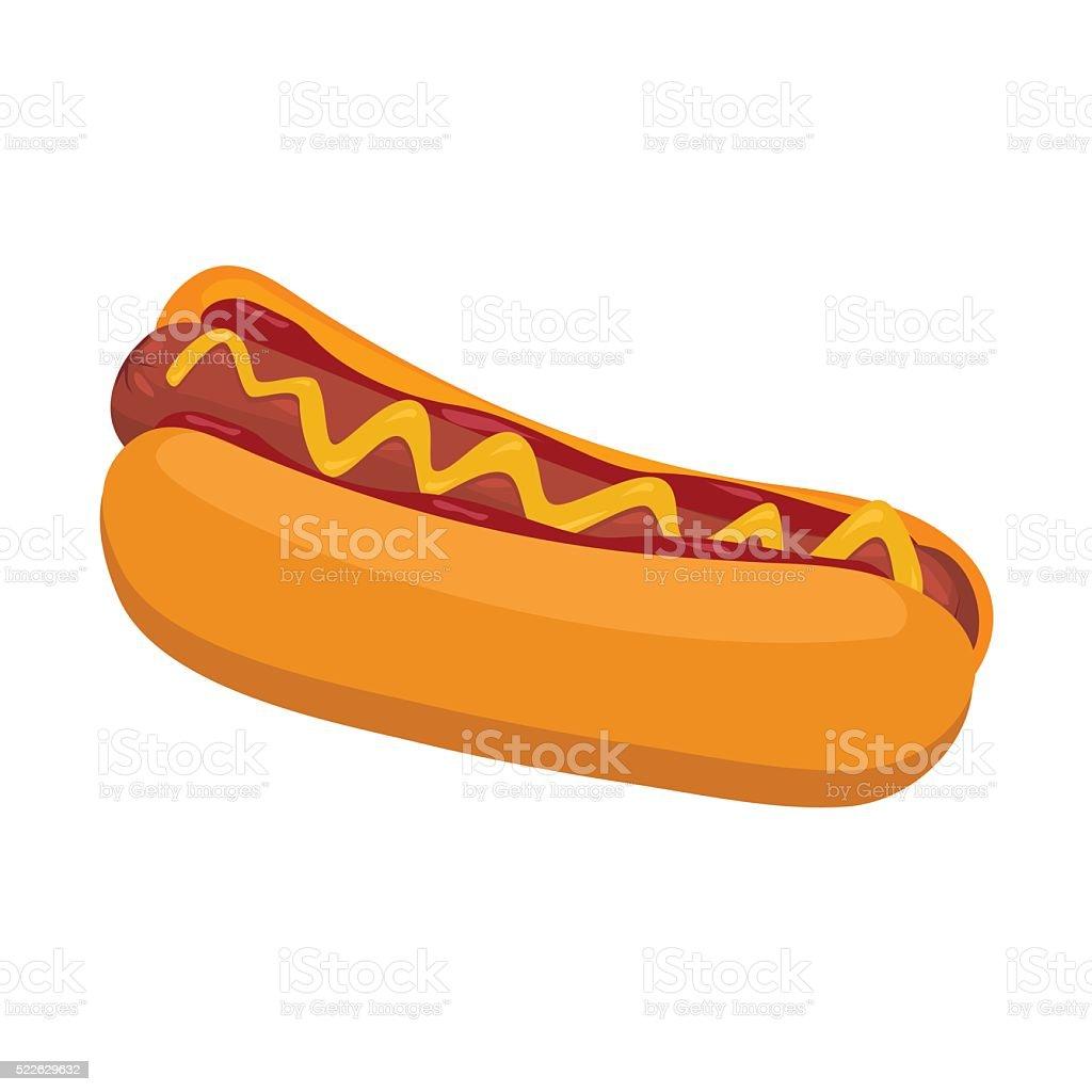 Hot Dog with mustard and ketchup unhealthy cartoon circus food vector art illustration