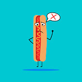 Hot dog with dialog balloon and a cross. vector illustration.