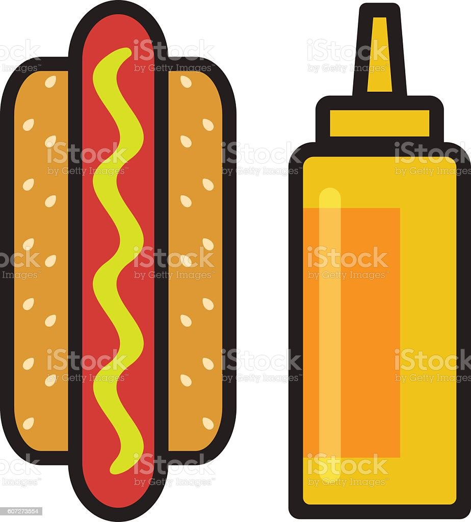 Hot dog with sausage and mustard bottle. Vector Image. vector art illustration