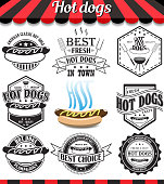 Hot dogs collection of vector signs, symbols and icons.