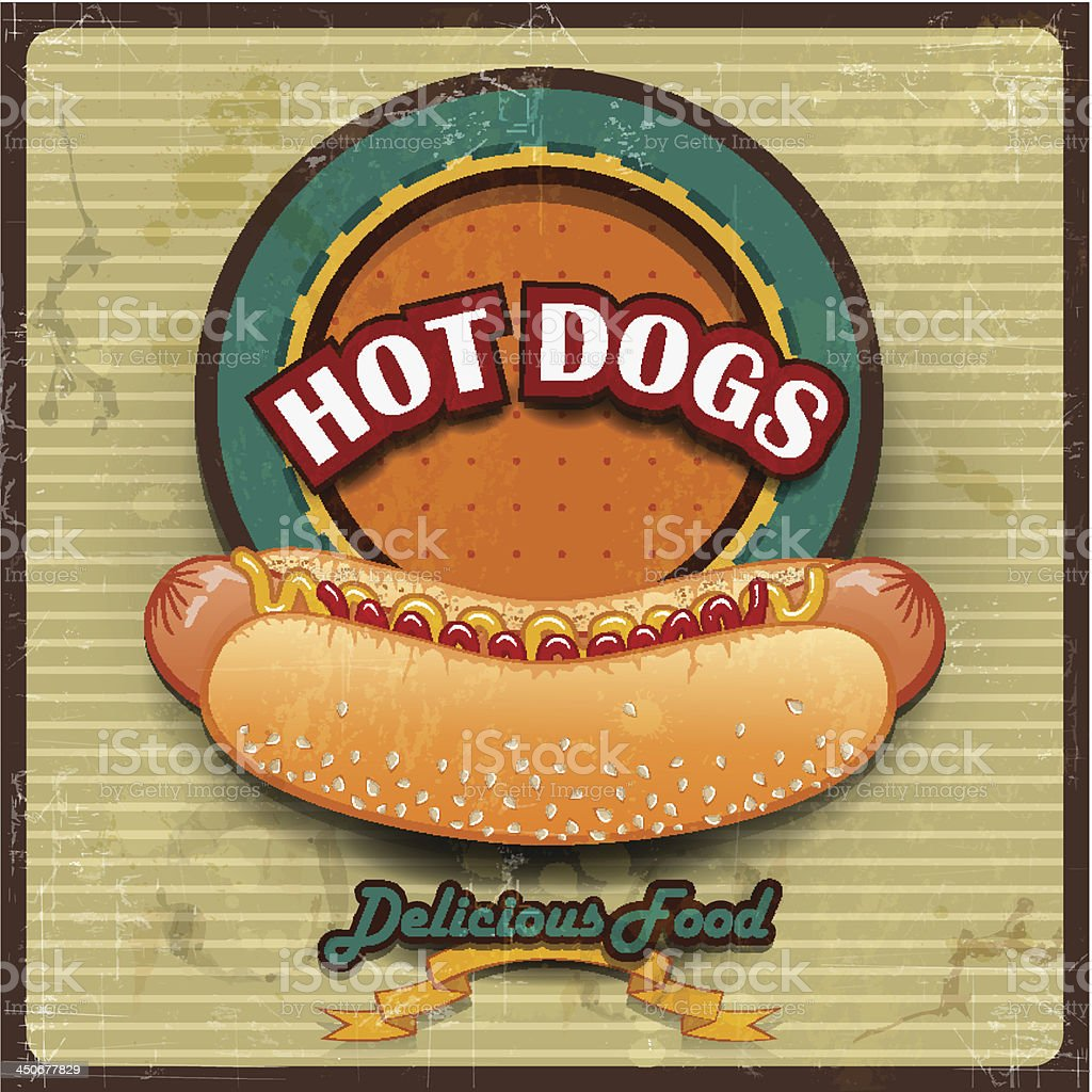 Hot Dogs Vintage vector art illustration