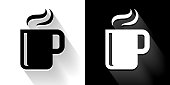 Hot Drink  Black and White Icon with Long Shadow. This 100% royalty free vector illustration is featuring the square button and the main icon is depicted in black and in white with a black icon on it. It also has a long shadow to give the icons more depth.