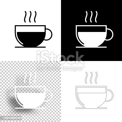 istock Hot drink. Icon for design. Blank, white and black backgrounds - Line icon 1294465549