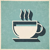 istock Hot drink. Icon in retro vintage style - Old textured paper 1328108452
