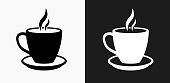 Hot Drink Icon on Black and White Vector Backgrounds. This vector illustration includes two variations of the icon one in black on a light background on the left and another version in white on a dark background positioned on the right. The vector icon is simple yet elegant and can be used in a variety of ways including website or mobile application icon. This royalty free image is 100% vector based and all design elements can be scaled to any size.
