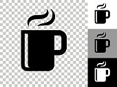 Hot Drink Icon on Checkerboard Transparent Background. This 100% royalty free vector illustration is featuring the icon on a checkerboard pattern transparent background. There are 3 additional color variations on the right..