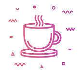 Hot drink outline style icon design with decorations and gradient color. Line vector icon illustration for modern infographics, mobile designs and web banners.