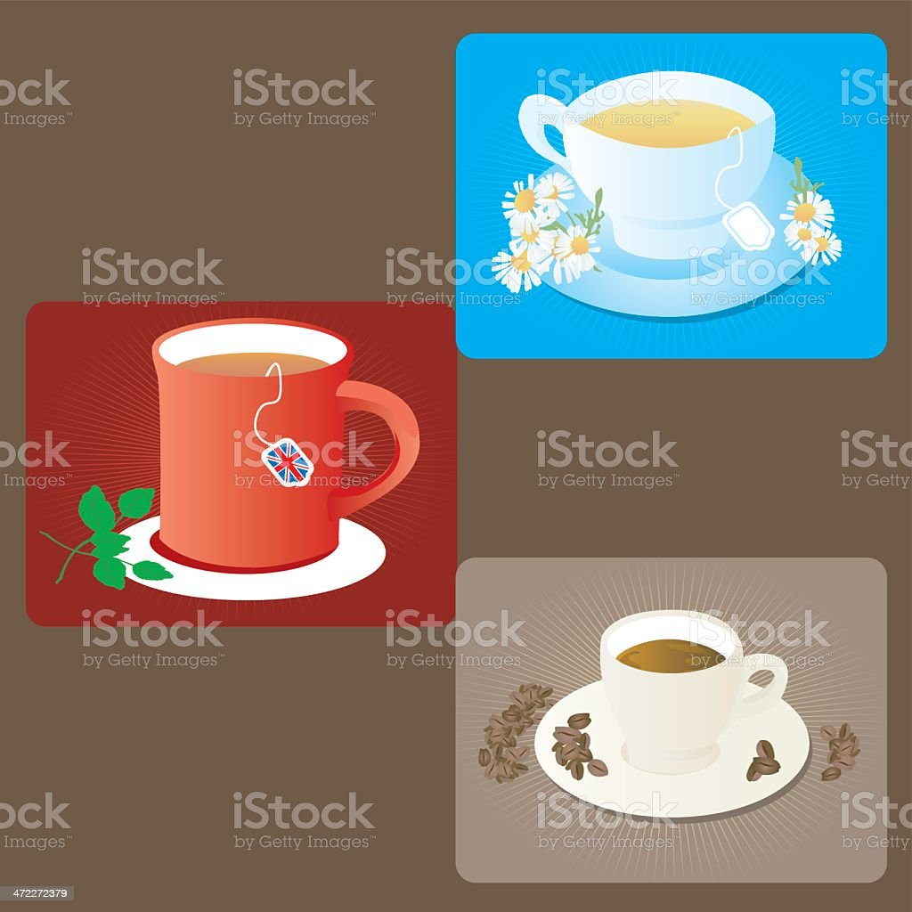 Hot drinks - Chamomille, coffee and tea royalty-free hot drinks chamomille coffee and tea stock vector art & more images of backgrounds