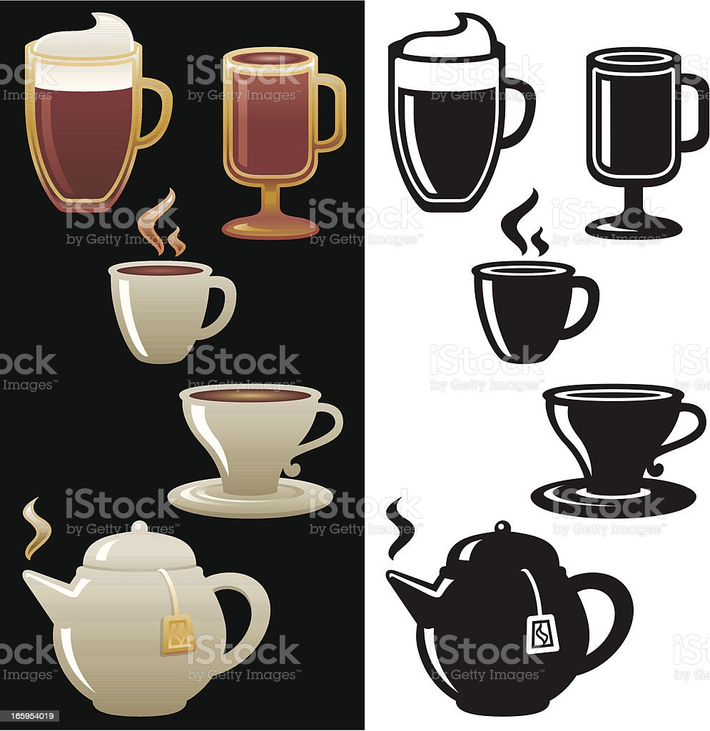 Hot Drinks icon set royalty-free hot drinks icon set stock vector art & more images of black and white