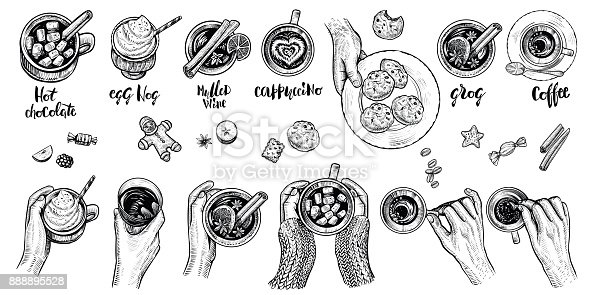 Hot drinks with holding hands top view, vector illustration. Winter or autumn cold season beverages: hot chocolate, coffe, mulled wime, egg nog, cappuccino, grog and cookies. Hygge style drawing.